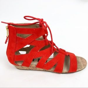 55f44fc2cdf2 Sam   Libby Sandals Gladiator Caged Lace Up Wedge
